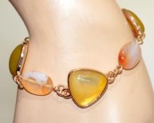 BRACCIALE PIETRE VERDE AMBRA CORALLO donna oro dorato ciondoli ovali catena anelli bracelet N90