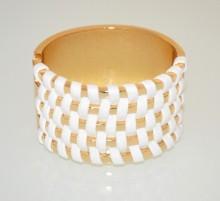 BRACCIALE RIGIDO donna ORO BIANCO a schiava dorato ecopelle pulsera bracelet BB50