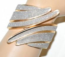 BRACCIALE rigido oro donna brillantinato argento schiava luccicante shimmer BB29