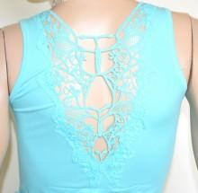 CANOTTA AZZURRA CELESTE donna top ricamato maglia strass t-shirt maglietta girocollo cotone G100