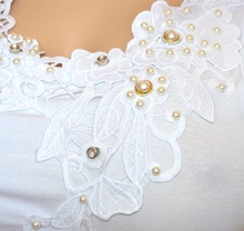 CANOTTA BIANCA top donna maglia sottogiacca pizzo ricamo perle strass tielko G30