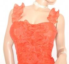 CANOTTA TOP donna CORALLO maglietta seta ELEGANTE cerimonia party sottogiacca da matrimonio sexy zip 50X