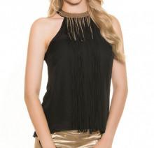 CANOTTA TOP NERO donna frange fili collarino oro maglia sottogiacca t-shirt elegante AZ47