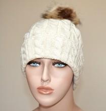 CAPPELLO BEIGE donna berretto copricapo pon pon eco pelliccia trecce imbottito casquette Hut G5