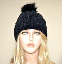 CAPPELLO NERO donna berretto ciniglia copricapo invernale hat черная кепка G12
