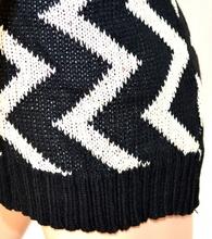 Cardigan donna maglione aperto fantasia NERO BIANCO maglioncino a maniche lunghe lana 140
