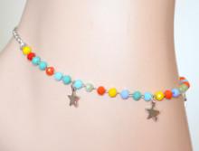 CAVIGLIERA donna argento ciondoli stelle pietre verde azzurre gialle corallo mare ragazza moda S55