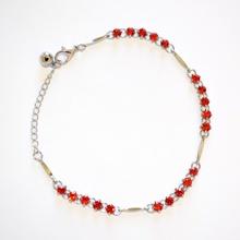 CAVIGLIERA donna argento strass cristalli brillantini rosso sexy gioiello estivo metallo 10C