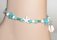 CAVIGLIERA donna stelle mare ciondoli conchiglia azzurro turchese bianco N11
