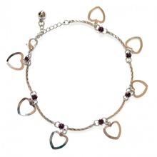 CAVIGLIERA strass  donna ARGENTO cristalli viola elegante da sera ciondoli cuore SEXY idea regalo anklet 5G