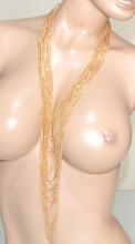 CCOLLANA LUNGA donna ORO dorata multi fili collier cerimonia necklace collar BB42