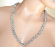 CINTURA ARGENTO donna catena metallo treccia stringivita elegante woman metal chain belt G72