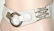 CINTURA BEIGE stringivita donna cristalli eco pelle fibbia argento elastica A38