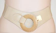 Cintura donna beige taupe ecrù fibbia oro stringivita sexy elegante elastica 720