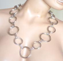 CINTURA gioiello ARGENTO donna catena metallo cerchi anelli stringivita collana ceinture S59