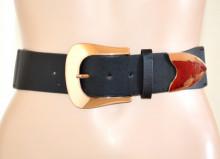 CINTURA NERA donna Stringivita fibbia ORO ROSA bustino elastico estensibile eco pelle cinturone corsetto G42
