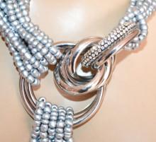 COLLANA ARGENTO donna anelli girocollo multi fili perline corallini strass collier S28