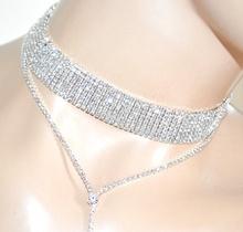 COLLANA ARGENTO STRASS collarino girocollo lunga sposa cristalli cerimonia A25