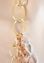 COLLANA donna catena oro argento bronzo diamantata girocollo anelli multi-maglia A48