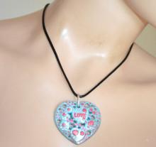 COLLANA donna ciondolo cuore azzurro celeste rosso bianco girocollo laccio nero catenina PX2