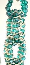 COLLANA donna CRISTALLI VERDE ACQUAMARINA catena argento diamantato elegante collier A38