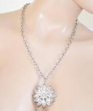 COLLANA donna GIROCOLLO ARGENTO strass CIONDOLO fiore cristalli collier catena anelli 10N