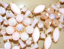 COLLANA donna ROSA CIPRIA CORALLO pietre cristalli elegante girocollo damigella cerimonia colar F58