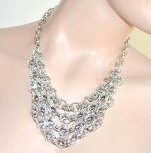 Collana girocollo collarino multi catena argento anelli diamantati strass luccicanti 80