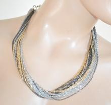 COLLANA girocollo donna argento oro dorata nera multi-fili elegante da cerimonia collar E33