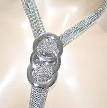 COLLANA lunga argento donna multi fili collier elegante anelli necklace colar G6