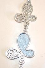 COLLANA LUNGA donna  ARGENTO farfalle brillantini filo anelli collier elegante F38