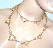 COLLANA LUNGA donna ciondoli cuori argento oro dorato girocollo s valentino long collier GP24