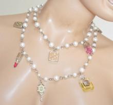 COLLANA LUNGA donna PERLE argento CIONDOLI make up profumo rossetto specchietto collier N4