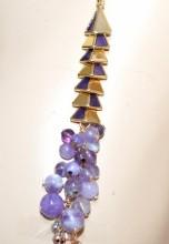 COLLANA LUNGA donna pietre viola lilla glicine collier multi fili argento oro rosa dorato GP15