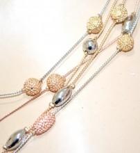 COLLANA LUNGA fili ciondoli donna argento oro rosa dorata pietre collier elegante GP18