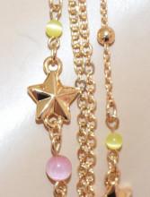 COLLANA LUNGA ORO donna CIONDOLI STELLE MARINE catena multi fili dorata pietre lilla rosa N69
