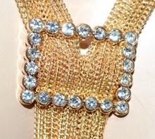 COLLANA lunga oro dorata donna multi fili lunghi collier saliscendi strass G36