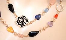 COLLANA LUNGA oro dorata pietre cristalli donna girocollo collier elegante cerimonia F220