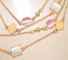 COLLANA LUNGA PIETRE donna oro dorata rosso corallo rosa beige avorio blu fili ciondoli collier N55
