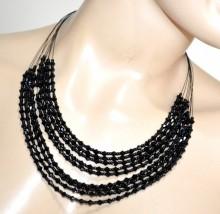 COLLANA NERA donna girocollo collier multi fili pietre perline dark gothic black choker BB14