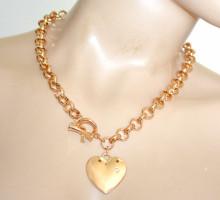 COLLANA ORO donna girocollo charms catena metallo dorato ciondolo cuore strass anelli collier N47