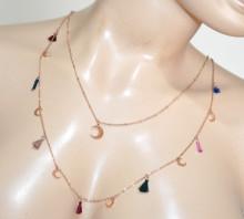 COLLANA ORO ROSA ciondoli luna donna girocollo acciaio multi fili collier necklace BB35