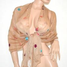 Foulard coprispalle donna stola cerimonia beige seta elegante velata x abito da sera sciarpa 106G