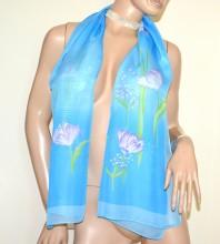 FOULARD donna CELESTE AZZURRO 40% seta sciarpetta fantasia fiori stola velata silk scarf G38