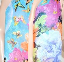 FOULARD donna seta stola coprispalle floreale estivo x abito\vestito velato bufanda mujer azzurro 68