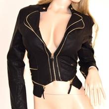 GIUBBINO donna pelle nero giacca giubbotto ecopelle giacchino avvitato sexy zip oro jacket chaqueta 14