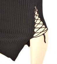 GONNA LUNGA donna NERA stretch elasticizzata sexy laccetti long skirt falda 15