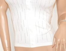 MAGLIA BIANCA donna maglietta strass cotone sottogiacca mezza manica corta E165