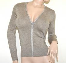 MAGLIA CARDIGAN BEIGE ORO donna maglietta aperta zip golfino manica lunga lurex A37