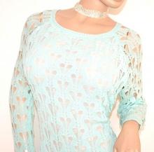 MAGLIA FILO VERDE ACQUA donna manica lunga maglietta maglione maglioncino F5